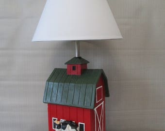 Cow. Barn Lamp. Barn lamp shade.