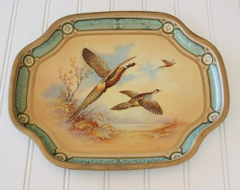 Vintage Baret Ware Decorative Tin Tray Snack Tray with Pheasants Made in England