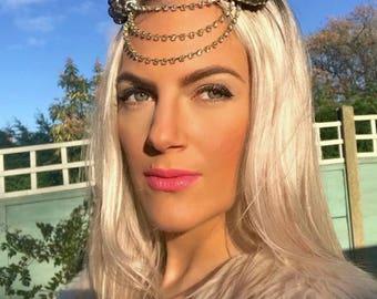 Gold Dangle Diamond Space Buns Hair Head Band