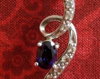 CP096 Vintage Sterling Silver Necklace with Sterling Silver Pendant with Blue Stone