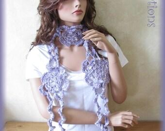 Light purple scarf hand crocheted cotton flower