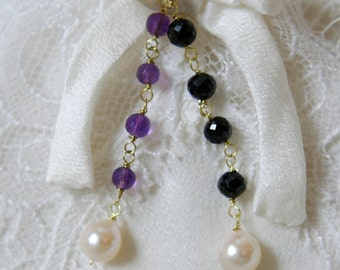 Akoya pearls with purple amethyst black Spinels earrings gold or gold plated