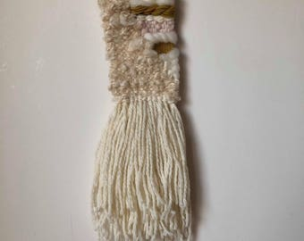 Woven wall hanging - cream, mustard and soft pink