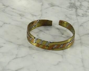 Mixed Metal Artisan Cuff Bracelet