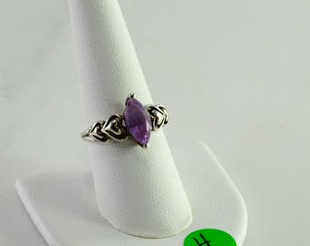Purple Stone Sterling Ring Size 9