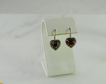 Marcasite Red Stone Sterling Pierced Earrings