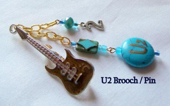 Concert Tour brooch - lapel pin - U2 gift -  gold guitar keepsake - memento - bag pin - aqua gemstone brooch - rock band - Lizporiginals