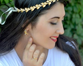 Gold leaves headband Wedding set crown earrings gold leaves halo Greek style crown Gold Leaf Headband Greek Goddess bride head piece