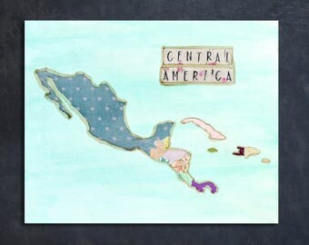 Mixed-Media Central America Map Custom Canvas |  home decor, map canvas, custom art, Central America wall hanging, Missionary gift