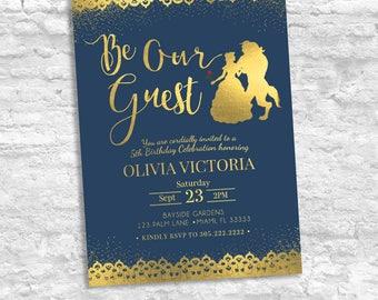 Beauty and the Beast Birthday Invitation, Be Our Guest Birthday Invitation, Disney Birthday Invitation, Beauty and the Beast Birthday Gold