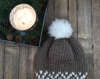 Women/Teen Slouchy Fair Isle Beanie with Faux Fur Pom