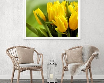 LArge Wall Art Yellow Flowers and Greens Canvas Print