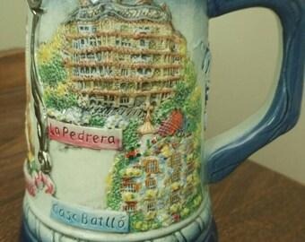 Souvenir Hand Painted Mug Barcelona Spain