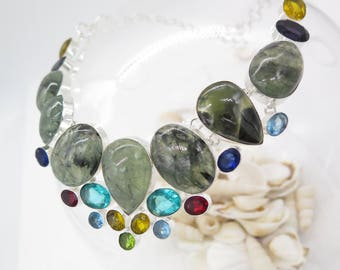 Moss Agate Blue Topaz Citrine Garnet Sterling Silver Necklace