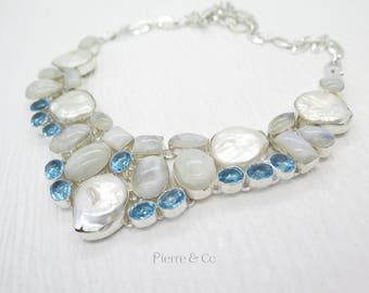 Fresh Water Pearl Moonstone Blue Topaz Sterling Silver Necklace