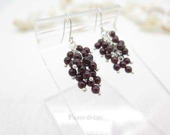 Garnet Grapes Drop Sterling Silver Earrings