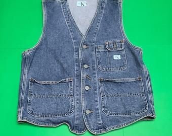 Calvin Klein Denim Vest - 90s Blue Jean Vest - Vintage Denim Vest - 90s Denim Vest - Vintage Jean Vest - Calvin Klein Vest - 90s Vest
