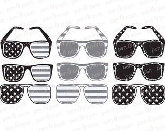 Flag Sunglasses SVG - Flag Sunglasses Clip Art - Sunglasses SVG - Sunglasses Clip Art - Flag SVG - Dxf - 4th of July Svg Bundle