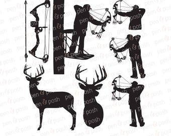 Bow Hunting SVG - Hunting SVG - Deer Hunting SVG - Deer Svg - Bow Svg - Hunting Clipart - Bow and Arrow Svg - Deer Bow Dxf -Bow Hunting File