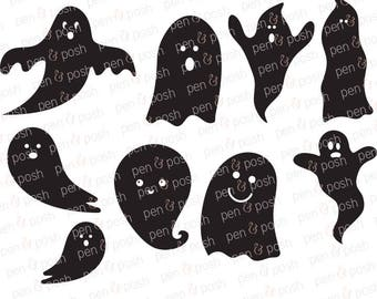 Ghosts SVG - Halloween SVG - Ghosts Clipart - Ghosts Cut Files - Ghosts Silhouette - Ghost Cricut - Ghost SVG bundle - Ghost dxf