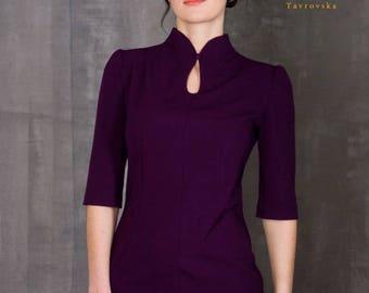 Elegant Purple Dress by TAVROVSKA, Stand Collar, Cocktail Dress, Vintage collar, Prom Dress, Robe, Vestito
