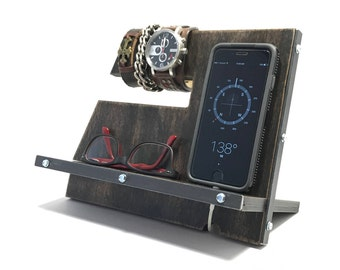 Black Vintage Industrial Rustic Wood Phone Stand / Docking Station / Charging Station / Cell Phone Holder / Phone Stand Wood