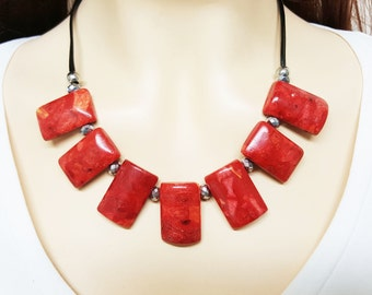 CORAL Original Necklace, Christmas Necklace, Coral Red Necklace, Coral Bead Necklace, Boho Necklace, Red Coral Jewelry, Jewelry Coral, Red