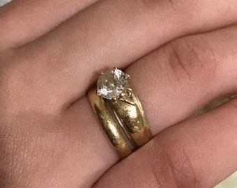 14k Yellow Gold Engagement and Wedding Rings  Moissanite 1 carat Size 6 Estate Jewelry