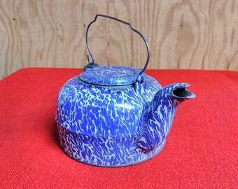 Antique Graniteware Tea Kettle St Louis Wrought Iron Range Co. Vintage Enamelware Cast Iron Cobalt Blue & White Design