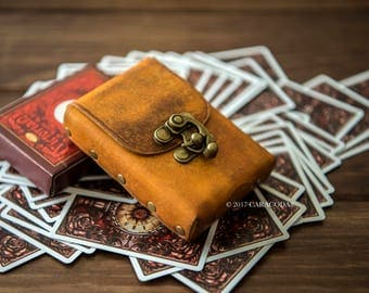Bicycle cards case, playing cards leather case, poker cards case, bridge game, RPG cards holder, box, cards holder, leather, Lenormand tarot