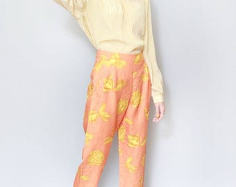 Vintage 1970's Orange And Yellow Nautical Print Trousers