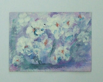 bridesmaids gift womens personalized gift original aceo white flowers art  abstract art acrylic painting canvas aceo card art paintings