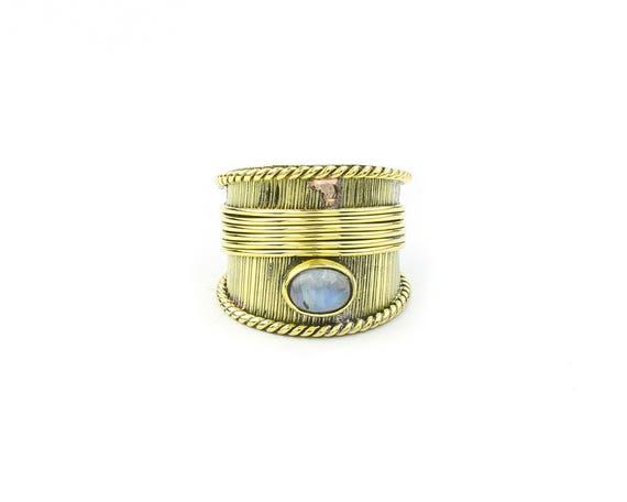 Night Walker Ring, Brass Moonstone Ring, Wide Gemstone Ring, Yoga Jewelry, Tribal, Ethnic Ring, Gypsy, Hippie Jewelry, Festival, Boho