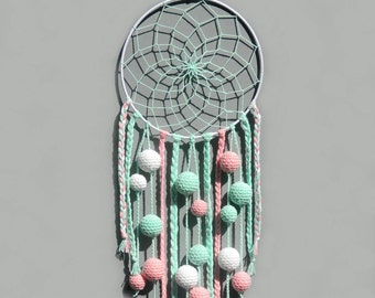 Mint dream catcher Nursery decor wall hanging Baby girl room decor Kids dreamcatcher with pom poms Baby shower gift for baby girl