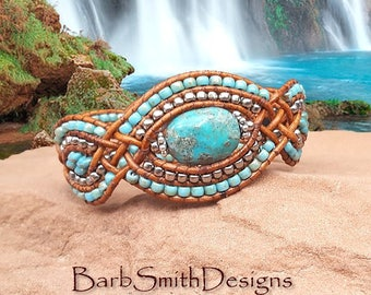 """Turquoise and Silver Bracelet-Beaded Leather Wrap-Genuine Turquoise Bead-Unique Design-Size 6 7/8""""-Custom Size-Heart of Stone-Turquoise Blue"""