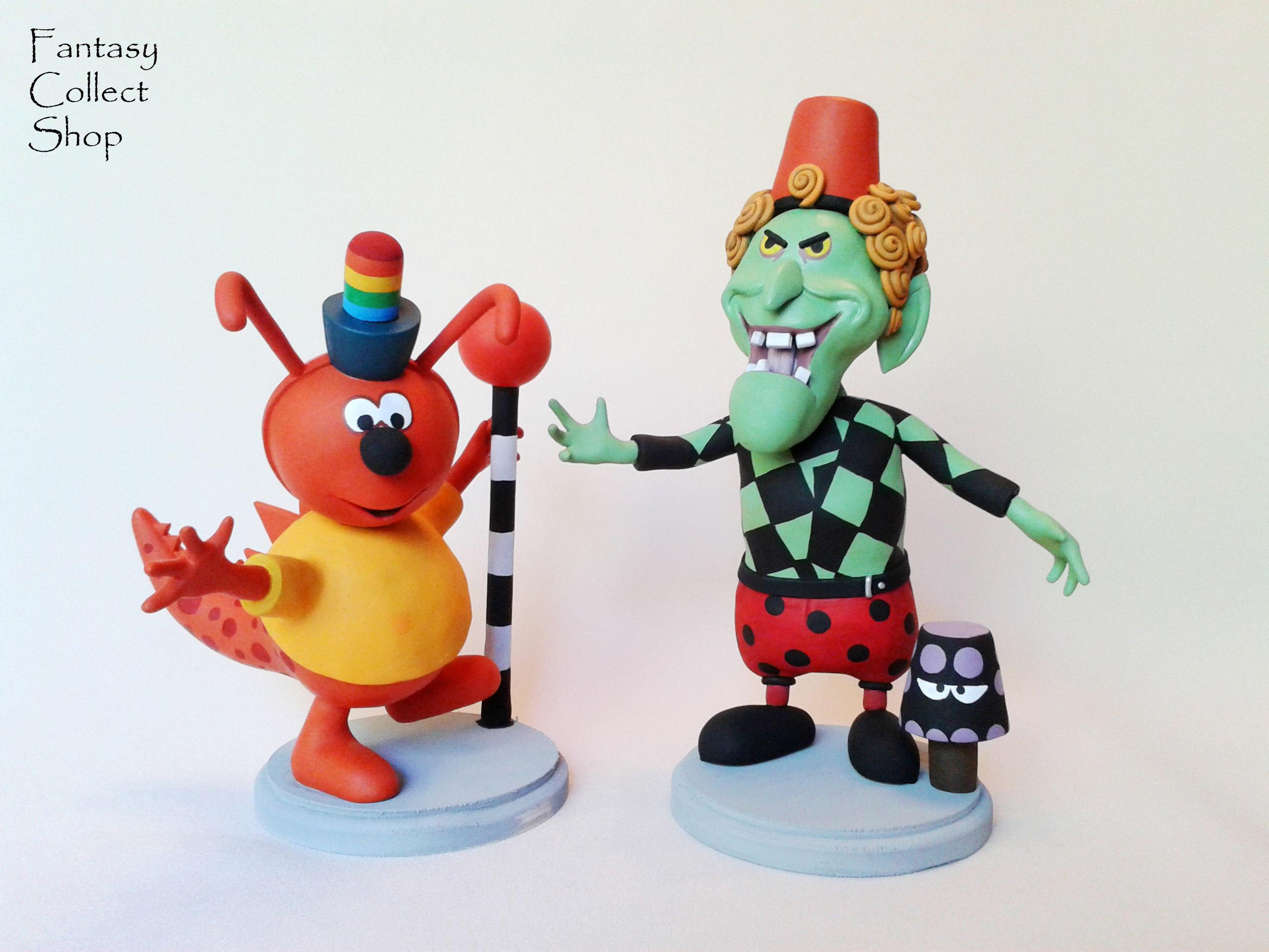 Chorlton and Finella figurines from Chorlton and the Wheelies cartoon  handmade figure Toys sculpture