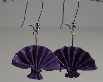 Origami fan earrings