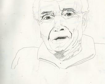 A3 Original pencil drawing - Lighthouse Keeper Portrait 11