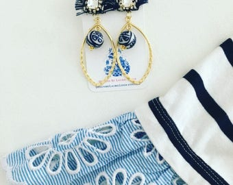 NAVY and WHITE Fringe Earrings | blue and white, gold, chinoiserie, Designs by Laurel Leigh, posts, post, dressy