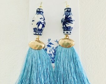 LIGHT BLUE Ginger Jar Earrings | Carolina blue, Statement Earrings, fringe, tassels, dangle, drop, lightweight, blue and white, chinoiserie