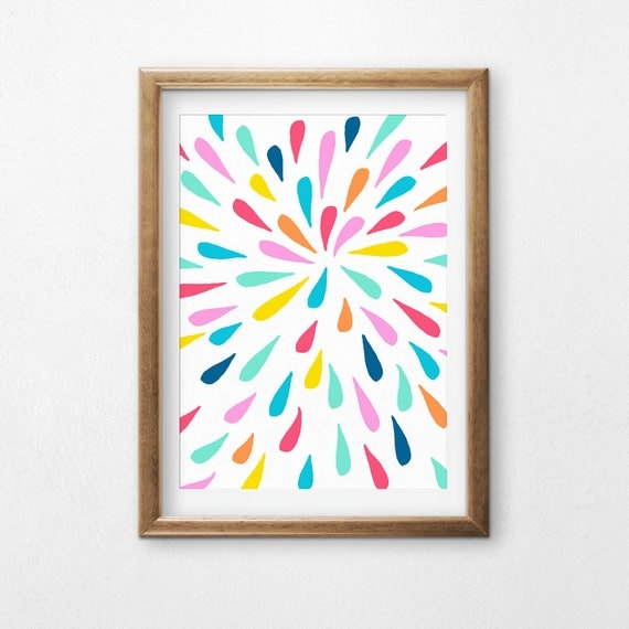 Printable Art, Colorful Drops, Pattern, Modern Art, Minimalist Art, Art Printable, Home Decor, Digital Download Print