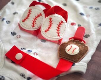 Baseball Baby Boy Barefoot Sandals, Summer Baby Boy Shower Gift Idea, Newborn Baby Photo Prop, Handmade Baby Shoes Felt Baseball Stitches