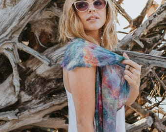 Womens Scarf - Gauze Scarf - Cotton Scarf - Long Scarf - Rainbow Scarf- Colorful Scarf- Modern Bohemian - Festival Style - Hand Dyed