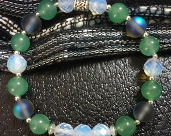 Aventurine, Opalite, and Mystic Aura Truth Talisman Beaded Stretchy Bracelet