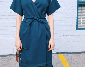 Ciao For Ports International Teal Wool Wrap Dress, 1970s