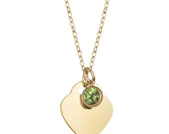 Heart Necklace, Heart Birthstone Necklace, Peridot, Peridot Jewelry, Gold Heart Necklace, Peridot Heart Birthstone Pendant Necklace, Peridot