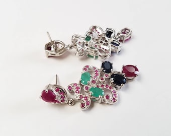 Sapphire, Emerald, and Ruby earring, handmade earring, sterling silver earring, chandelier earring, new style earring, multi-stone earring.