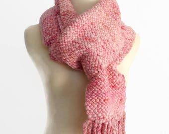 hand woven scarf, hand spun yarn,  pale pink, winter scarf, chunky scarf, art yarn scarf, merino wool scarf, handmade by SpunWool