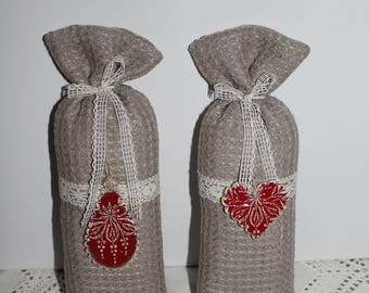 Bag of lavender linen lace and Red ceramic heart/drop