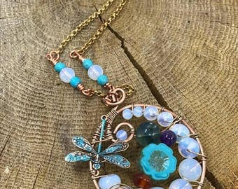 Necklace amulet spring Dragonfly necklace, Opal, fluorite, amethyst and carnelian